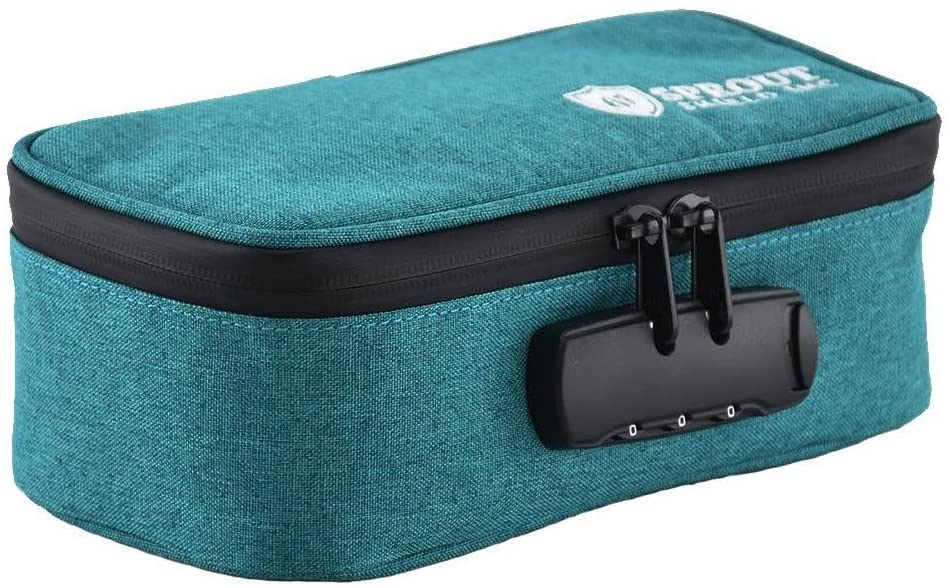 Smell Proof Bag with Combination Lock | Powered with Carbon Technology | By Sprout Inc. | Keep Your Goods Certified Fresh! | Odor Proof & Stylish (8.5L 4.5W 3.5H inches) (Green)